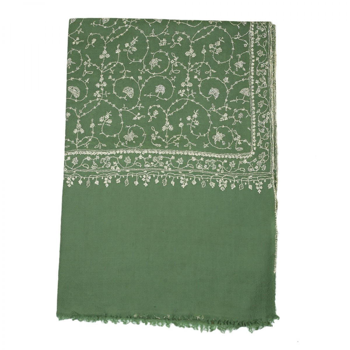 Embroidered Handloom Pashmina Stole - Moss Green