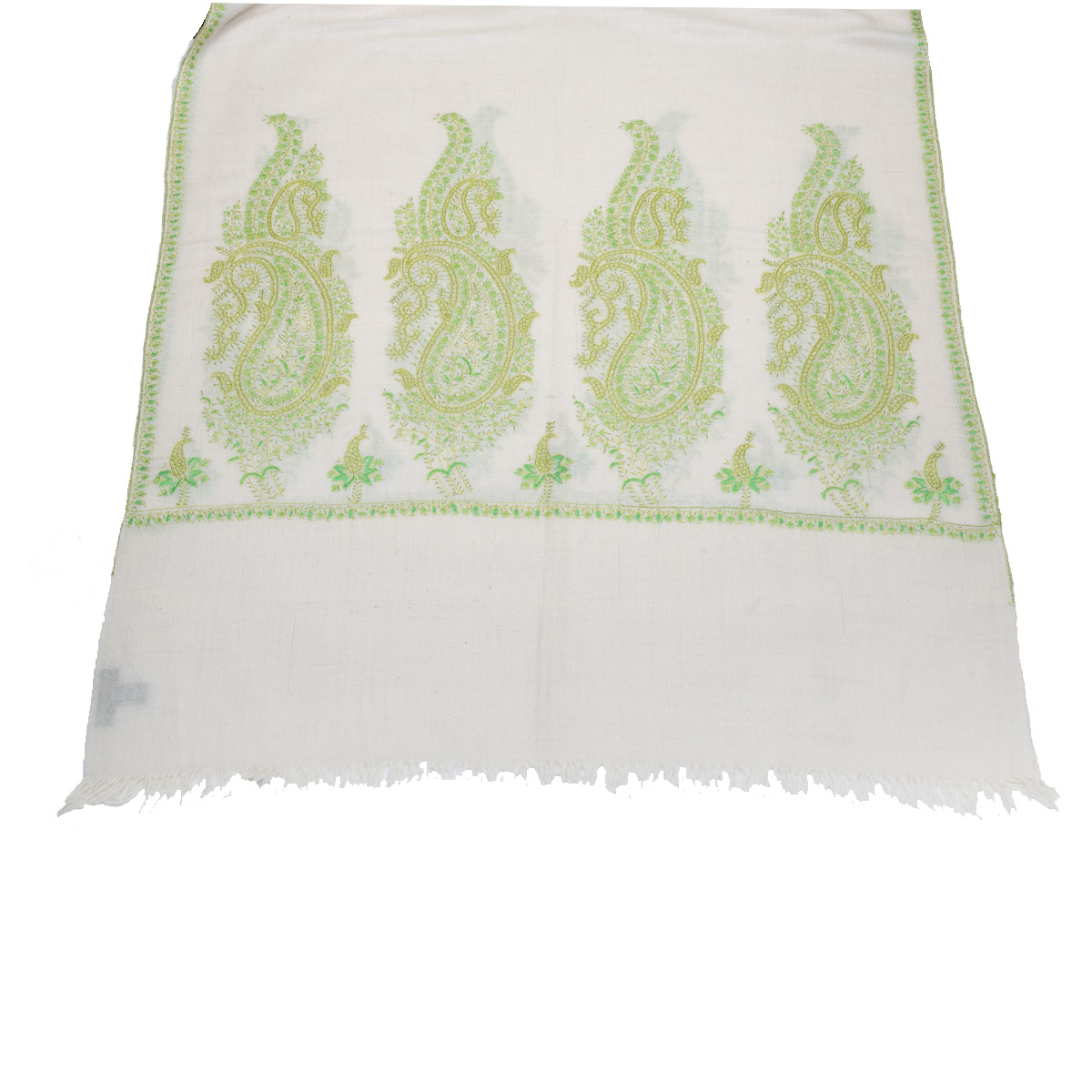 Hand Embroidered Cashmere Pashmina Stole - Natural Green