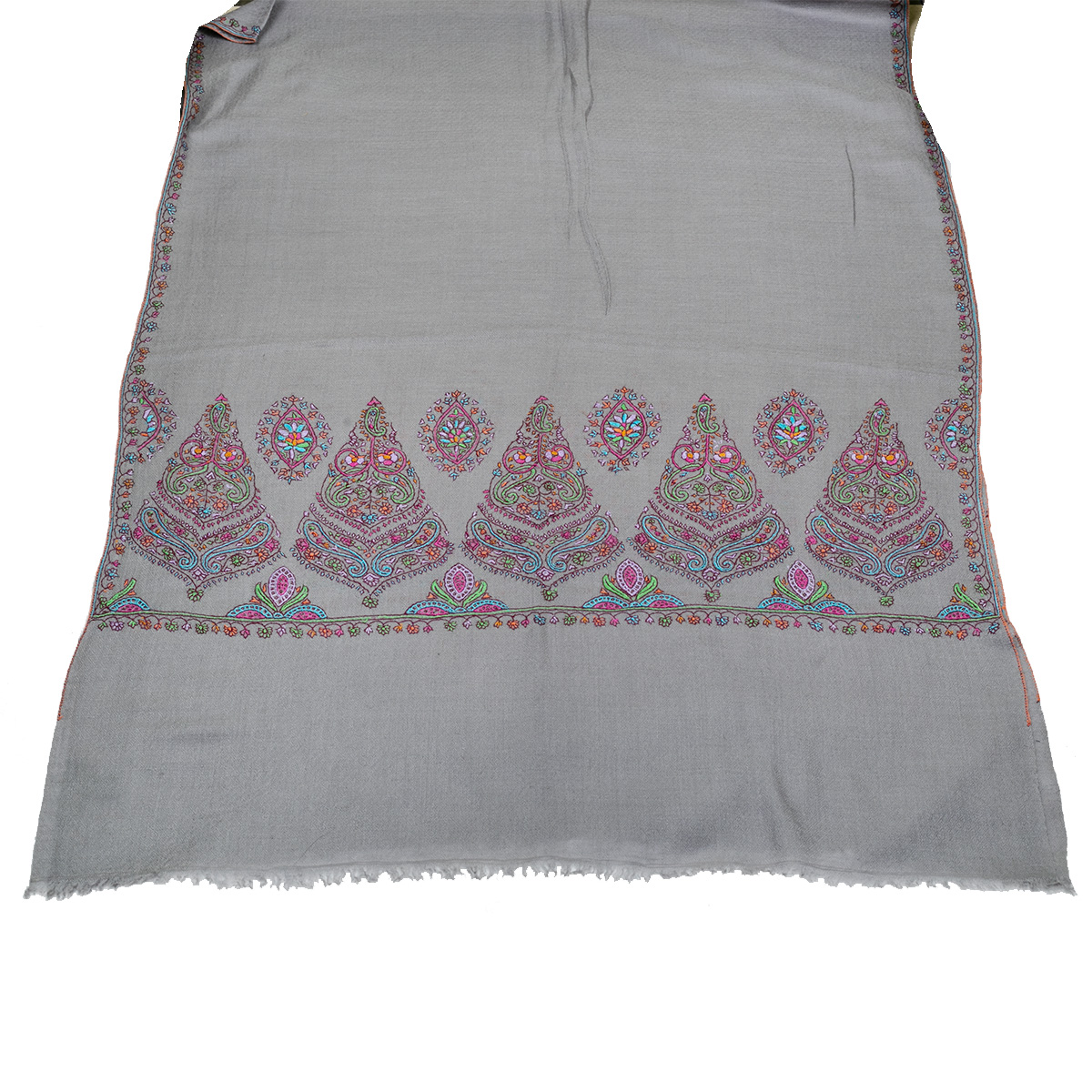 Hand Embroidered Cashmere Pashmina Stole - Natural