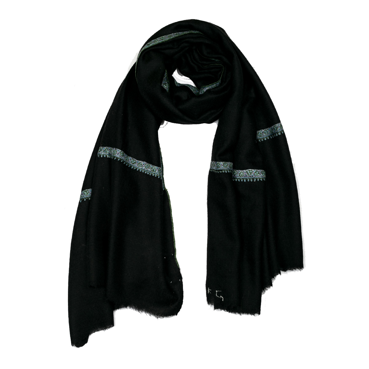 Hand Embroidered Cashmere Pashmina Stole - Black
