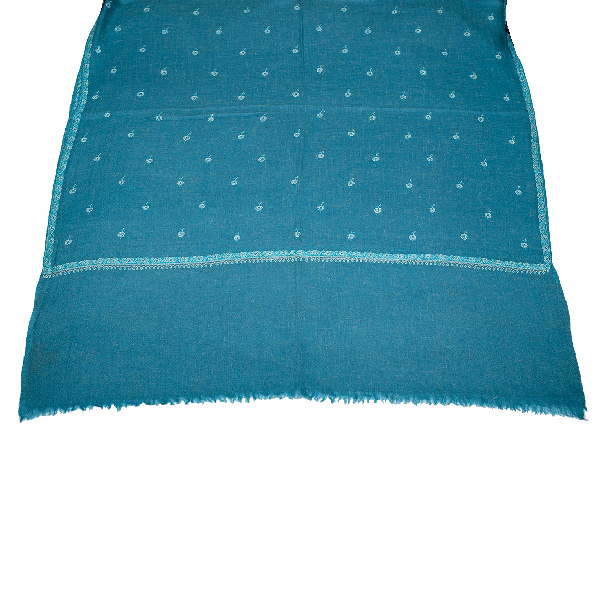 Hand Embroidered Cashmere Pashmina Stole - Steel Blue