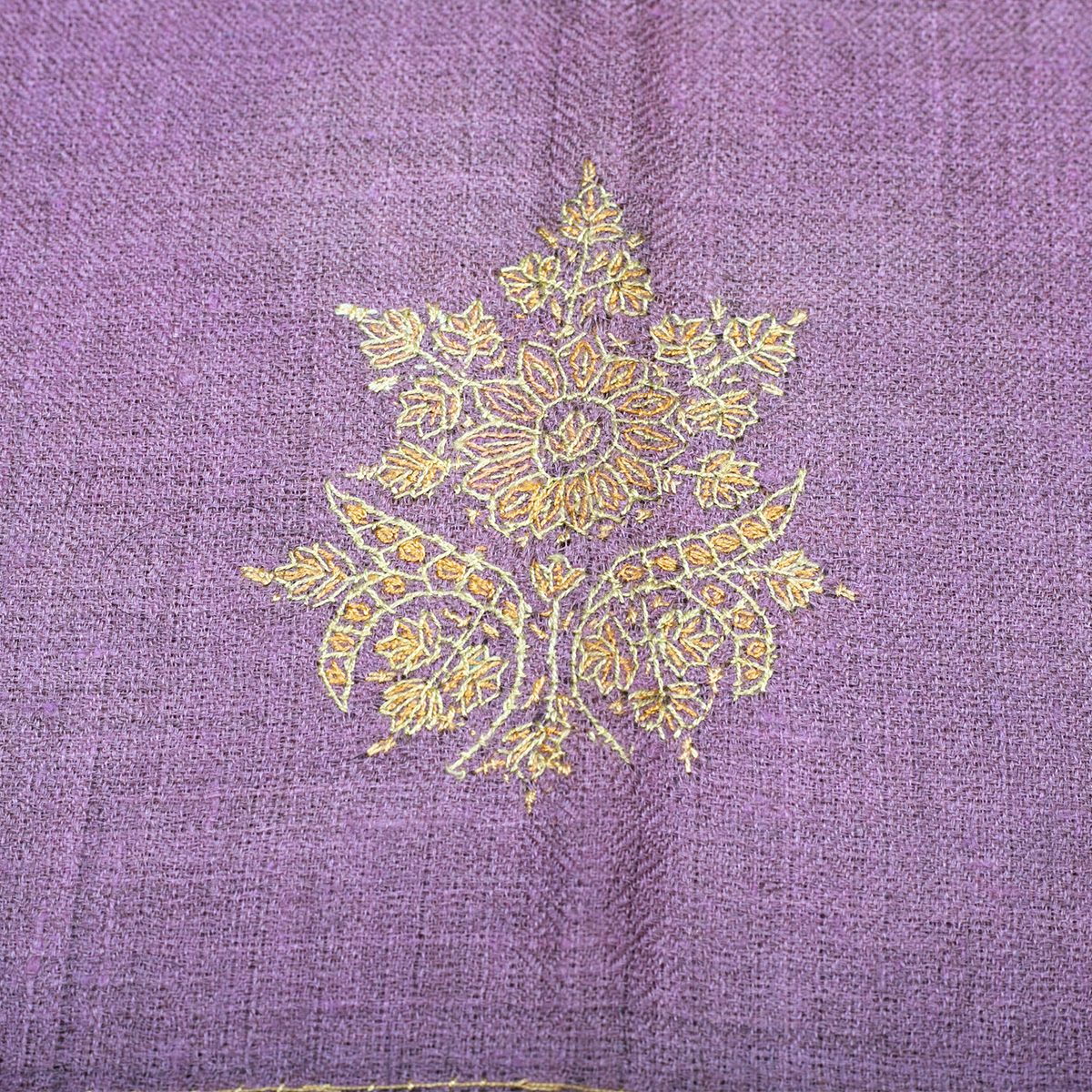 Hand Embroidered Cashmere Pashmina Stole - Natural Purple