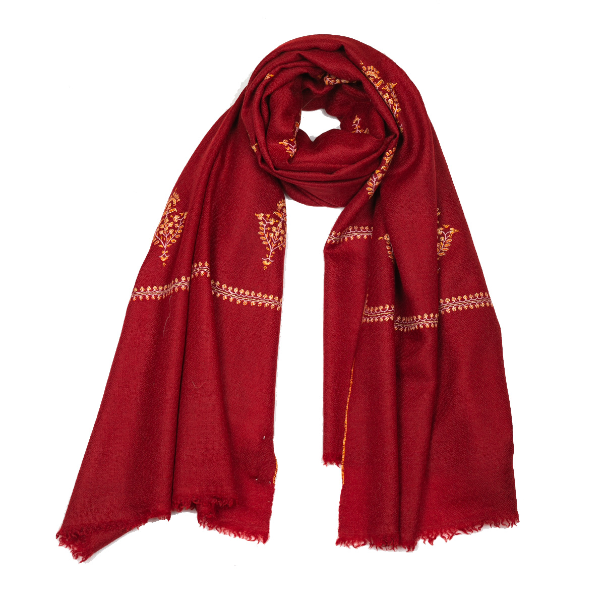 Hand Embroidered Cashmere Pashmina Stole - Red Orange
