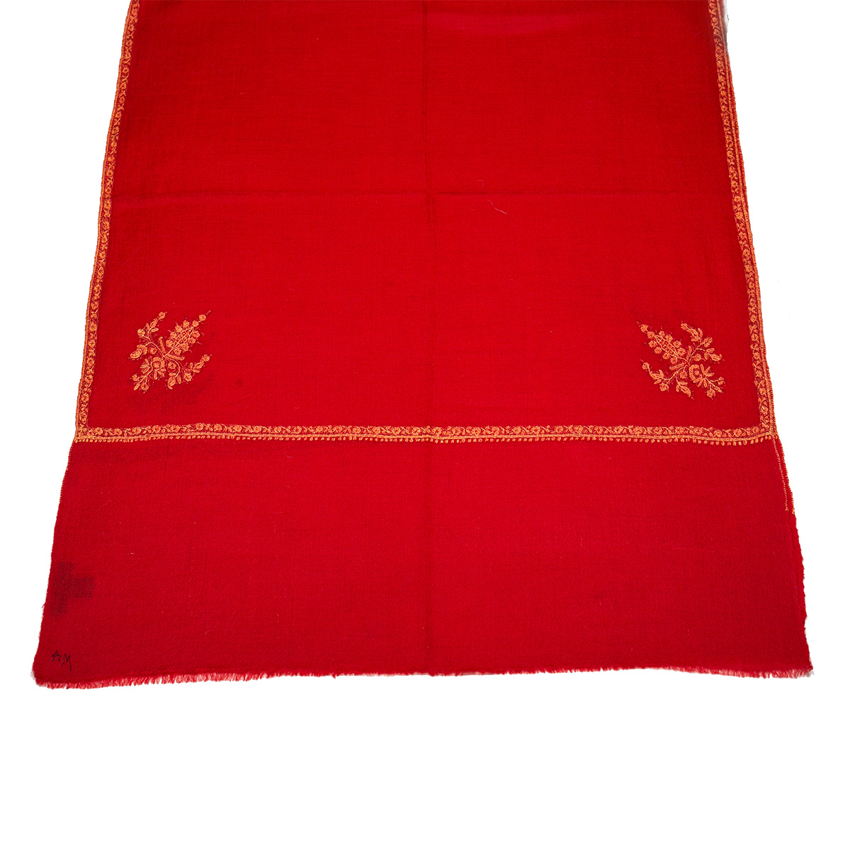 Hand Embroidered Cashmere Pashmina Stole - Red & Orange