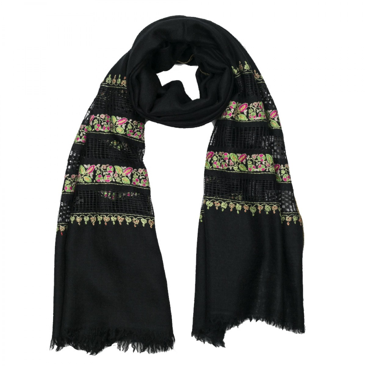 Embroidered Pashmina Stole - Black