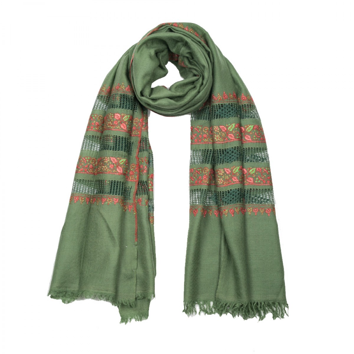 Embroidered Pashmina Stole - Green