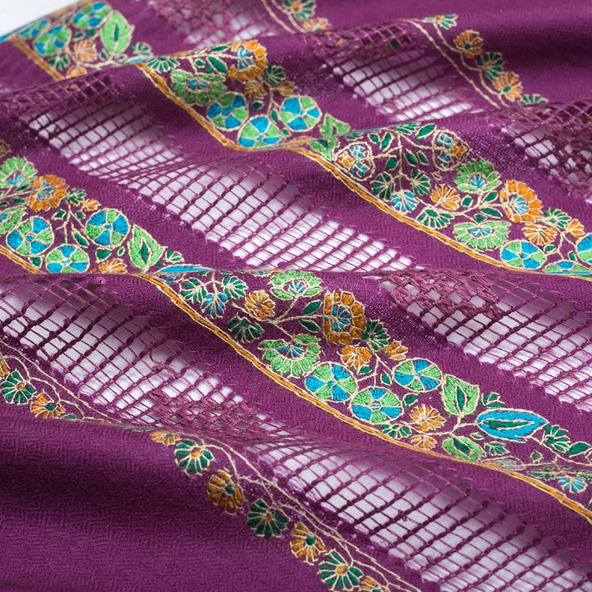 Embroidered Pashmina Stole - Orchid Purple