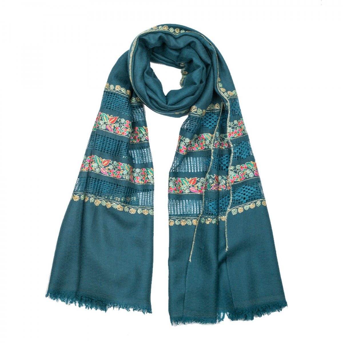 Embroidered Pashmina Stole - Pine Green