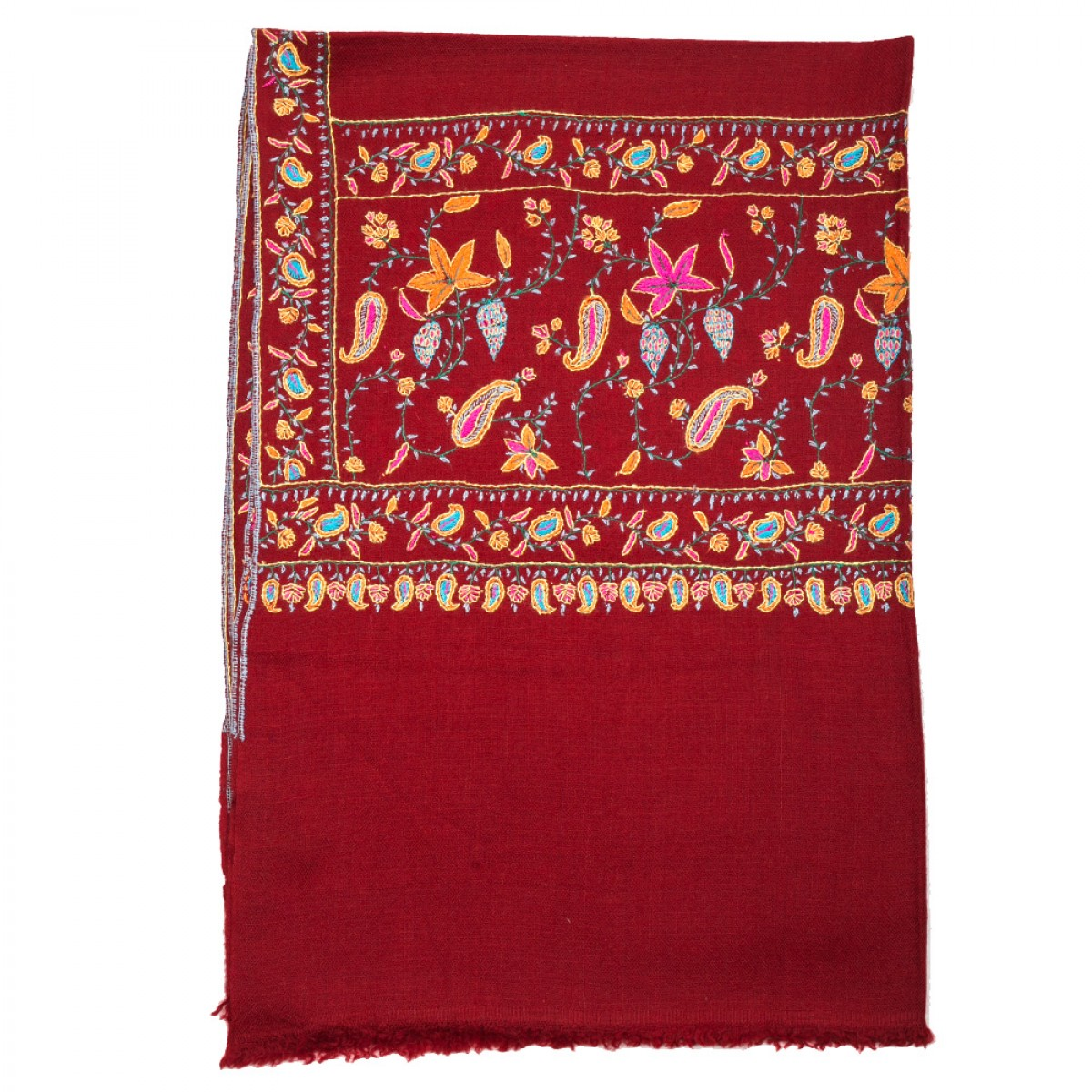 Hand Embroidered Cashmere Pashmina Stole - Red