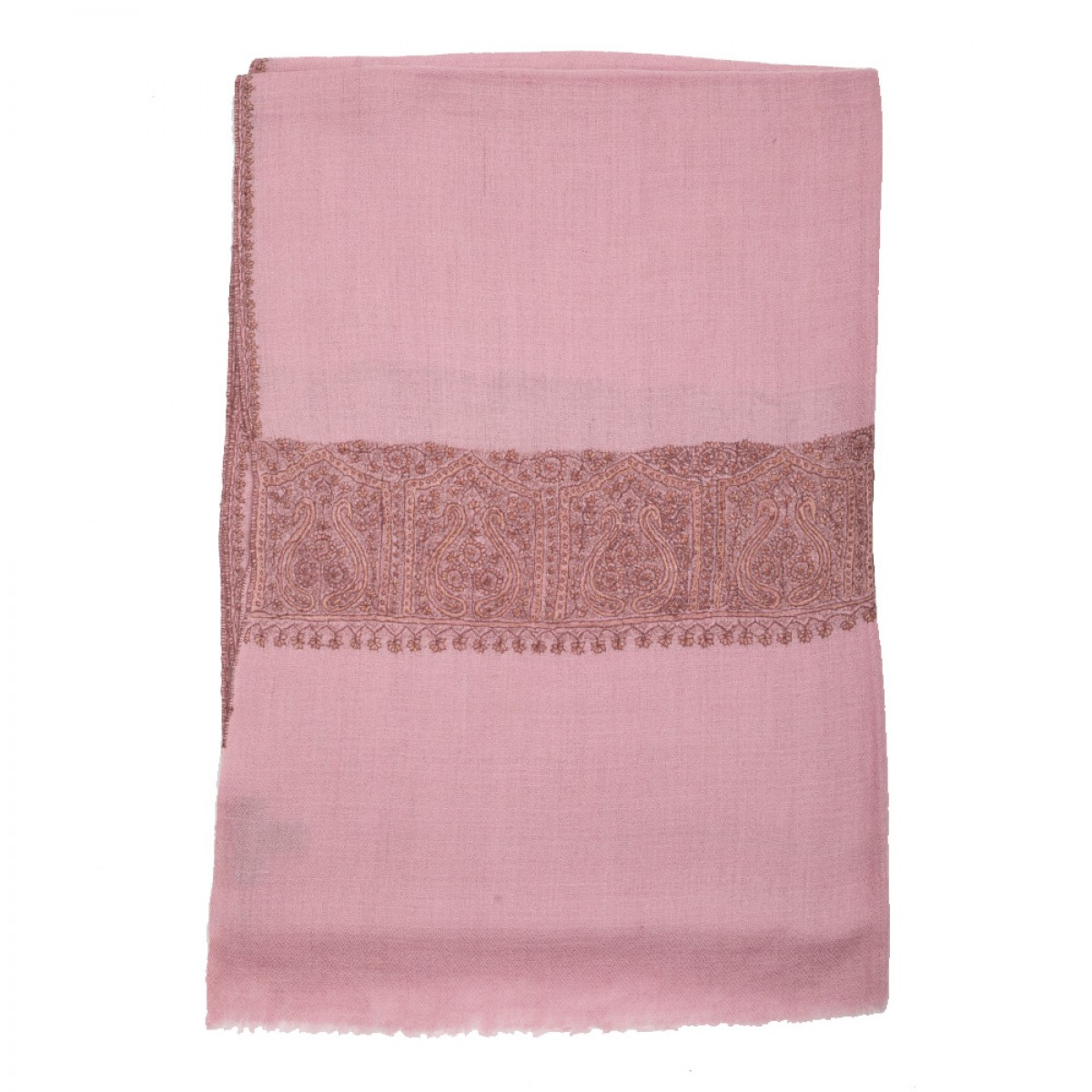 Hand Embroidered Cashmere Pashmina Stole - Peony Pink