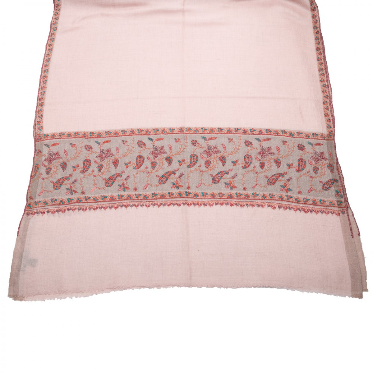 Hand Embroidered Cashmere Pashmina Stole - Light Pink