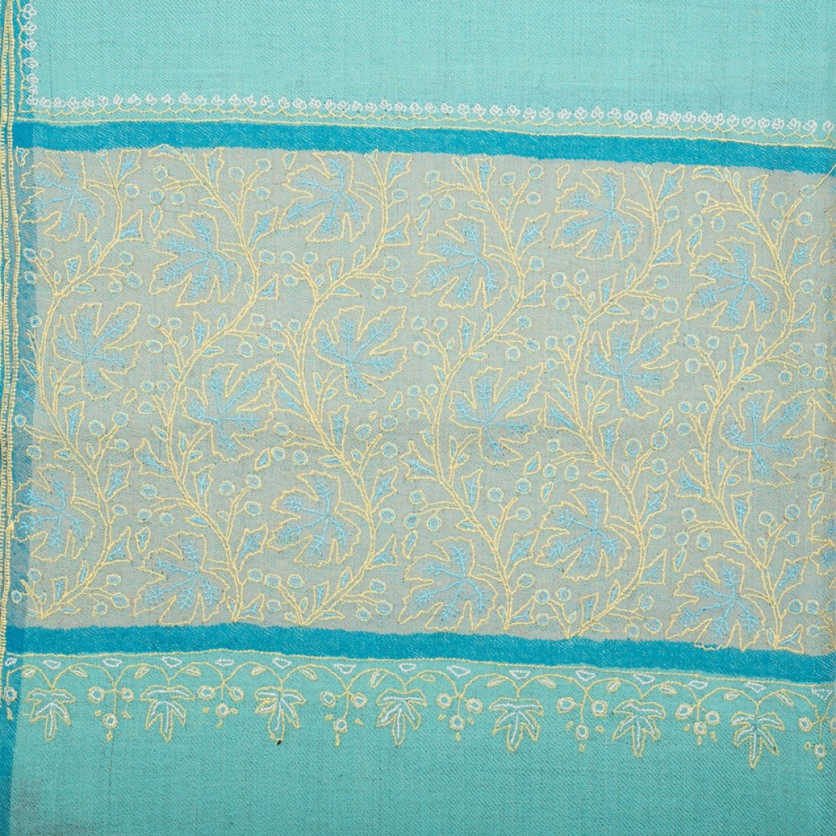 Hand Embroidered Cashmere Pashmina Stole - Baby Blue