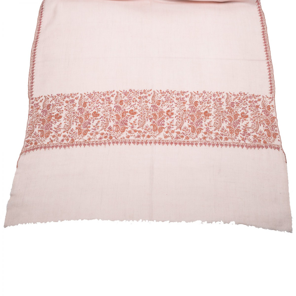 Hand Embroidered Cashmere Pashmina Stole - Baby Pink
