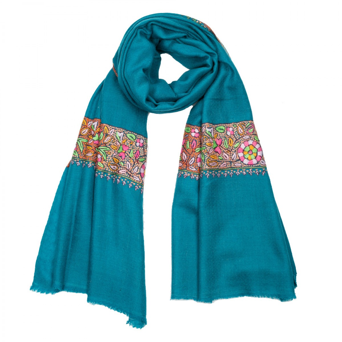 Embroidered Pashmina Stole - Turquoise Blue