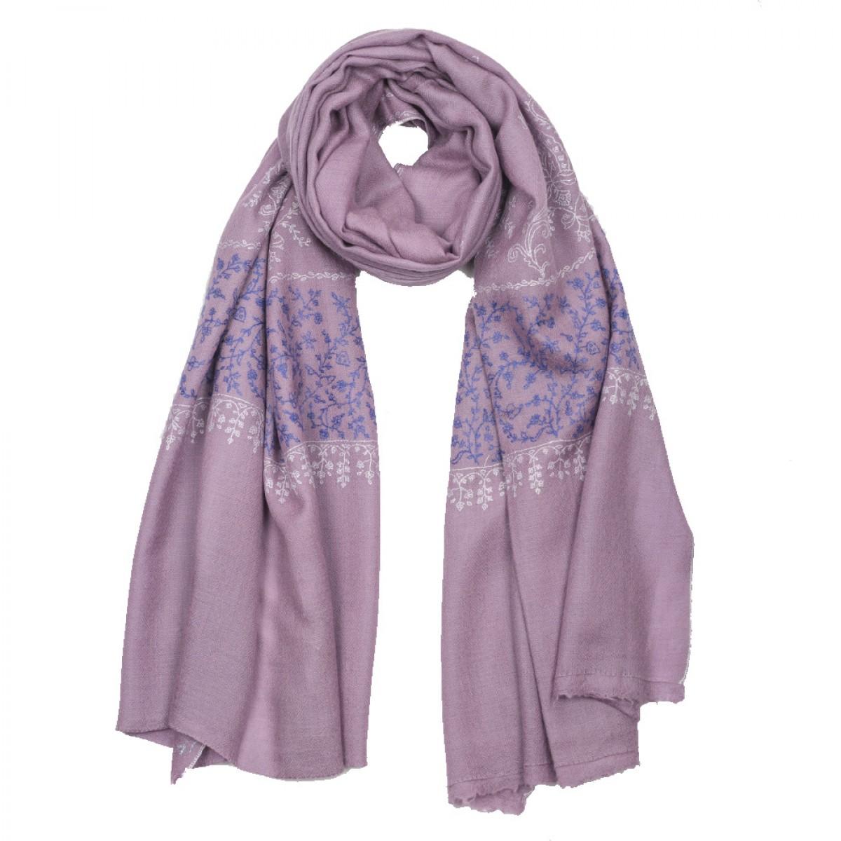 Hand Embroidered Cashmere Pashmina Stole - Mauve Purple