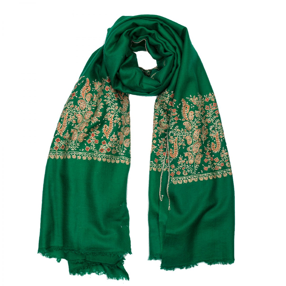 Hand Embroidered Cashmere Stole - Emerald Green