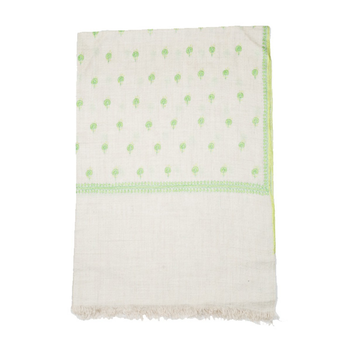 Embroidered Pashmina Stole - Off White & Green