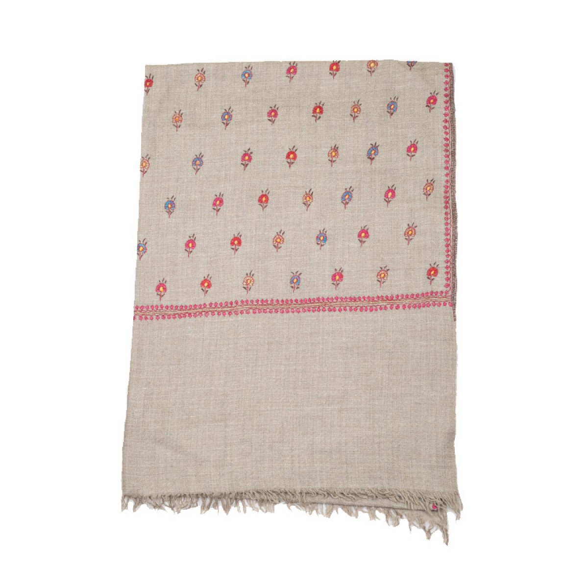 Embroidered Pashmina Stole - Natural & Multi