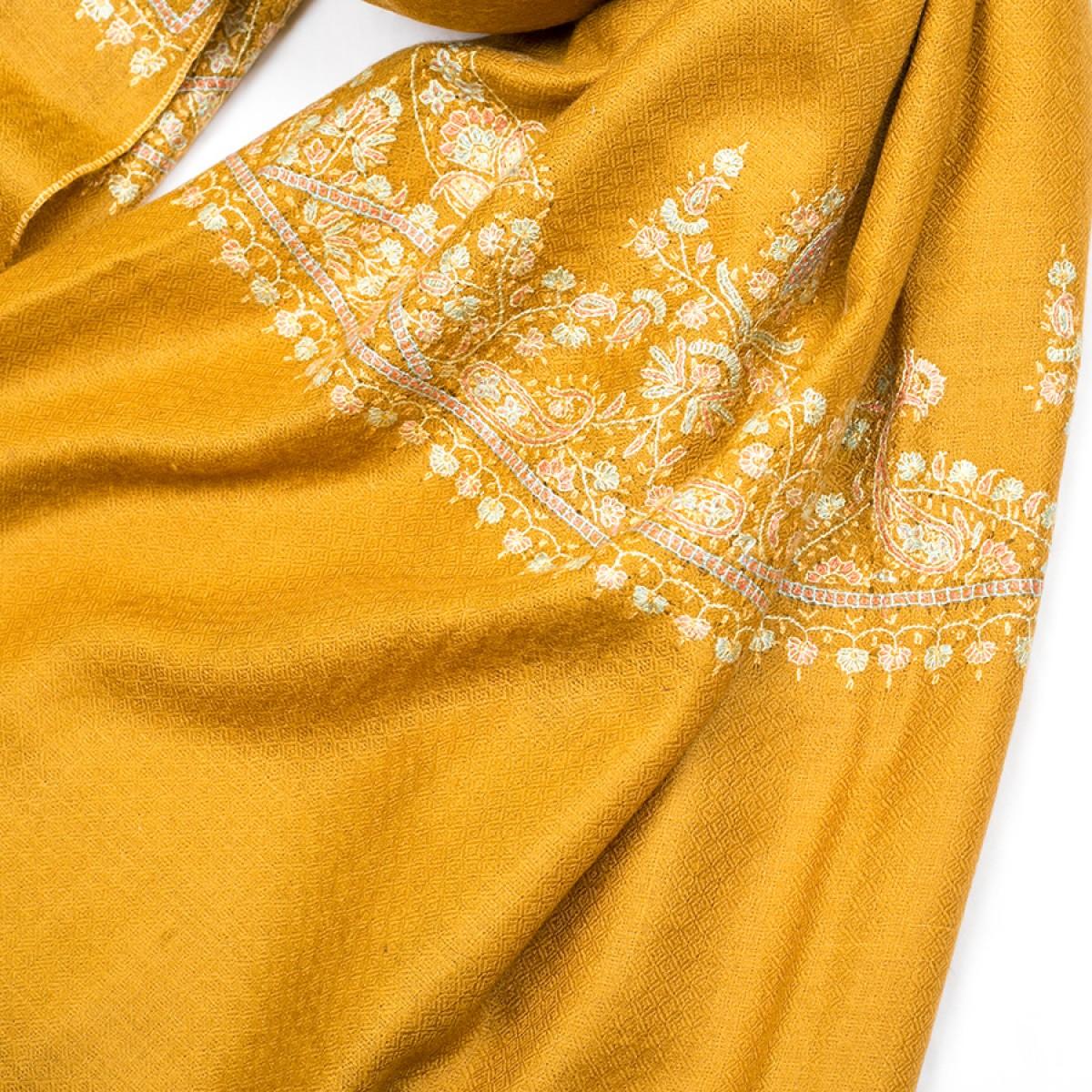 Embroidered Pashmina Shawl - Mustard