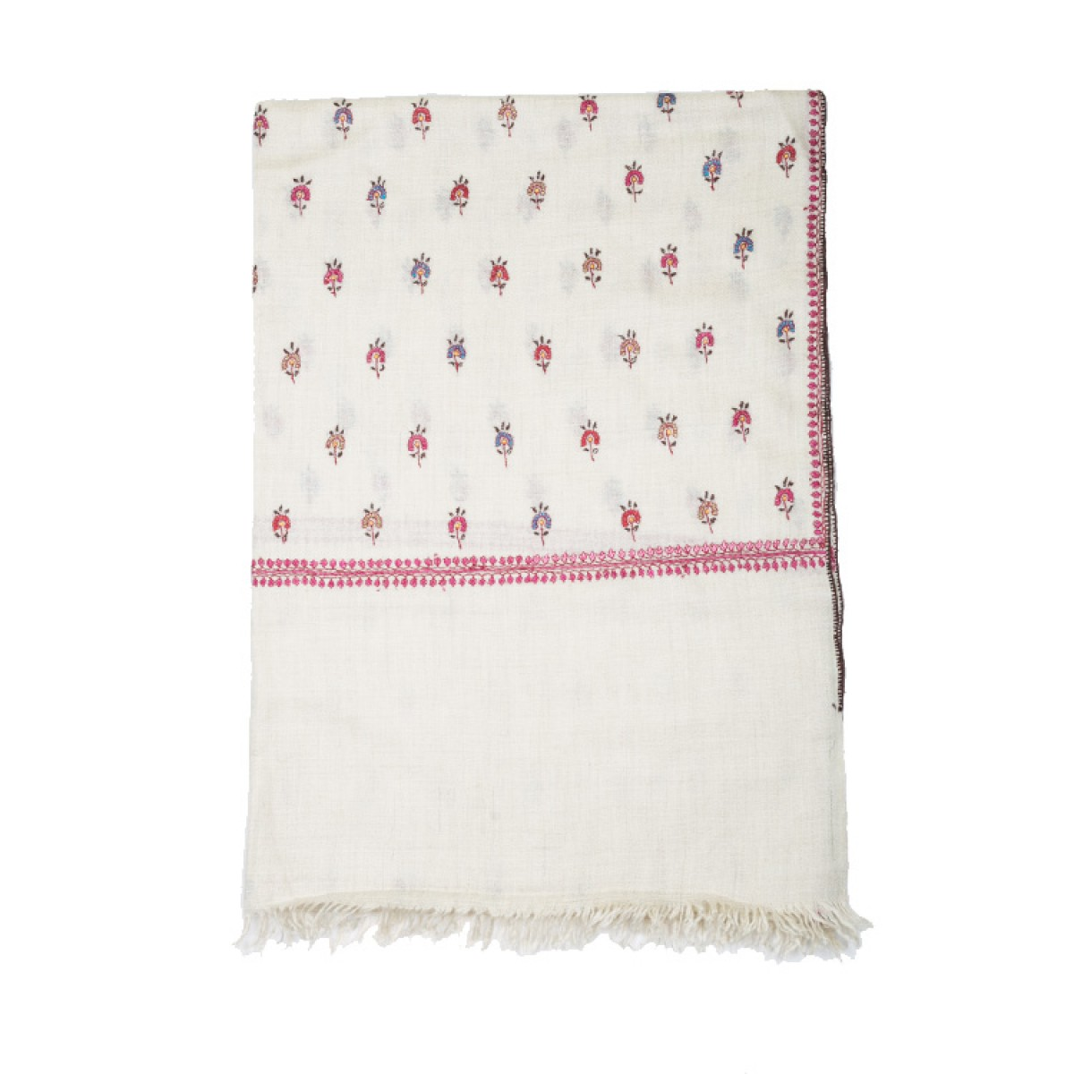 Embroidered Pashmina Stole - Off White