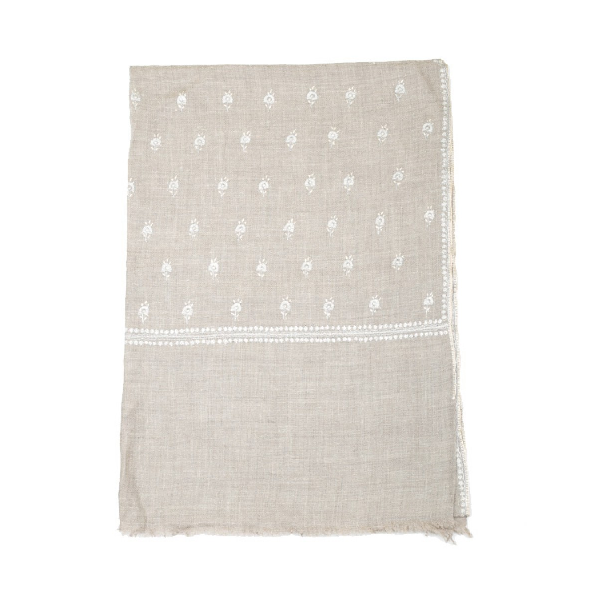 Embroidered Pashmina Stole - Oat Gray