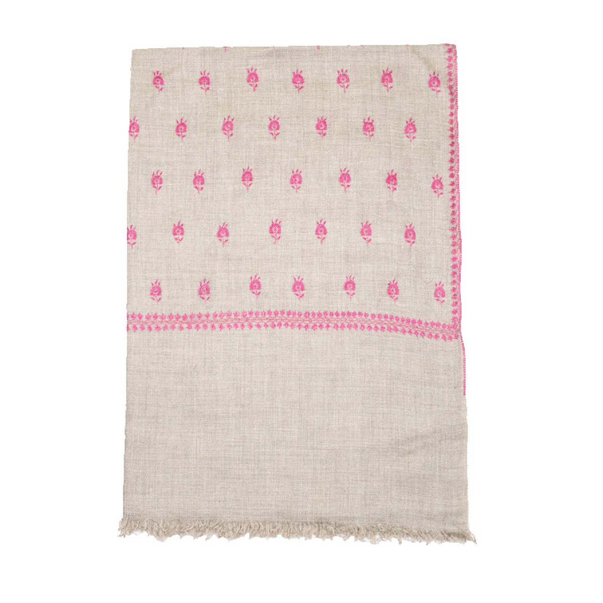 Embroidered Pashmina Stole - Natural & Magenta