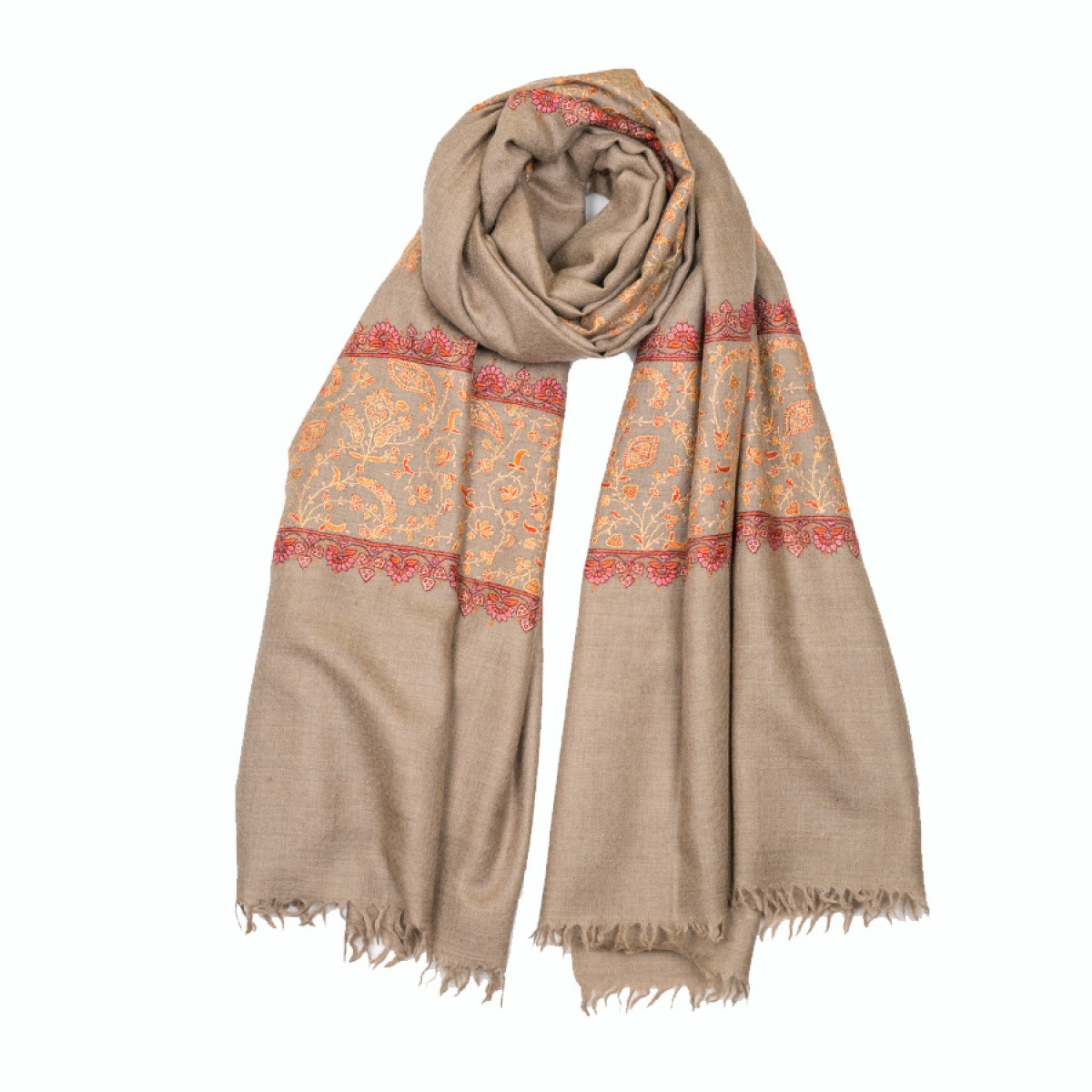 Embroidered Pashmina Shawl - Brown