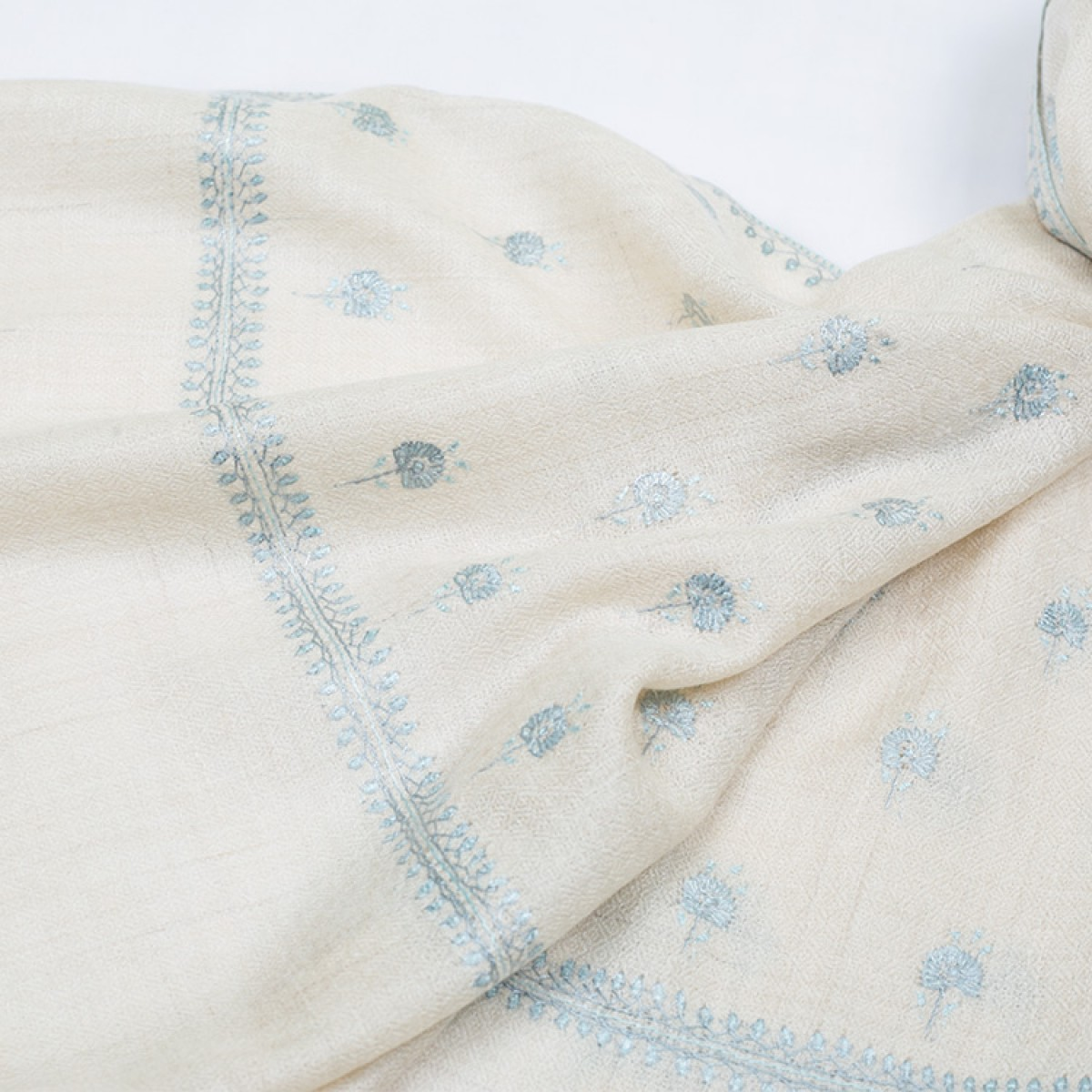 Embroidered Pashmina Stole - Off White & Baby Blue