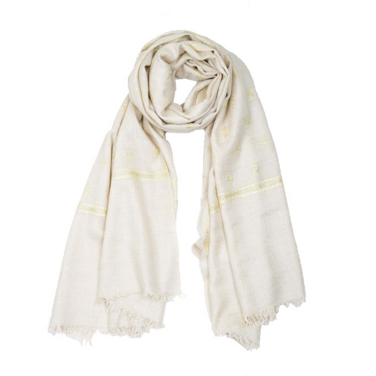 Embroidered Pashmina Stole - Natural & Light Green