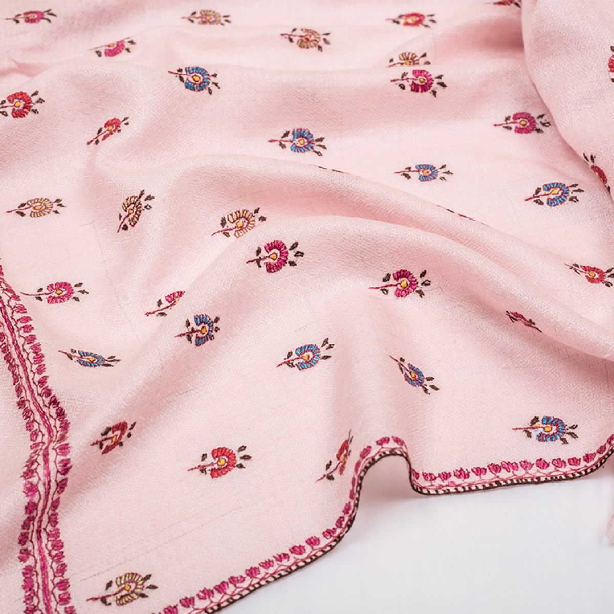 Embroidered Pashmina Stole - Pink