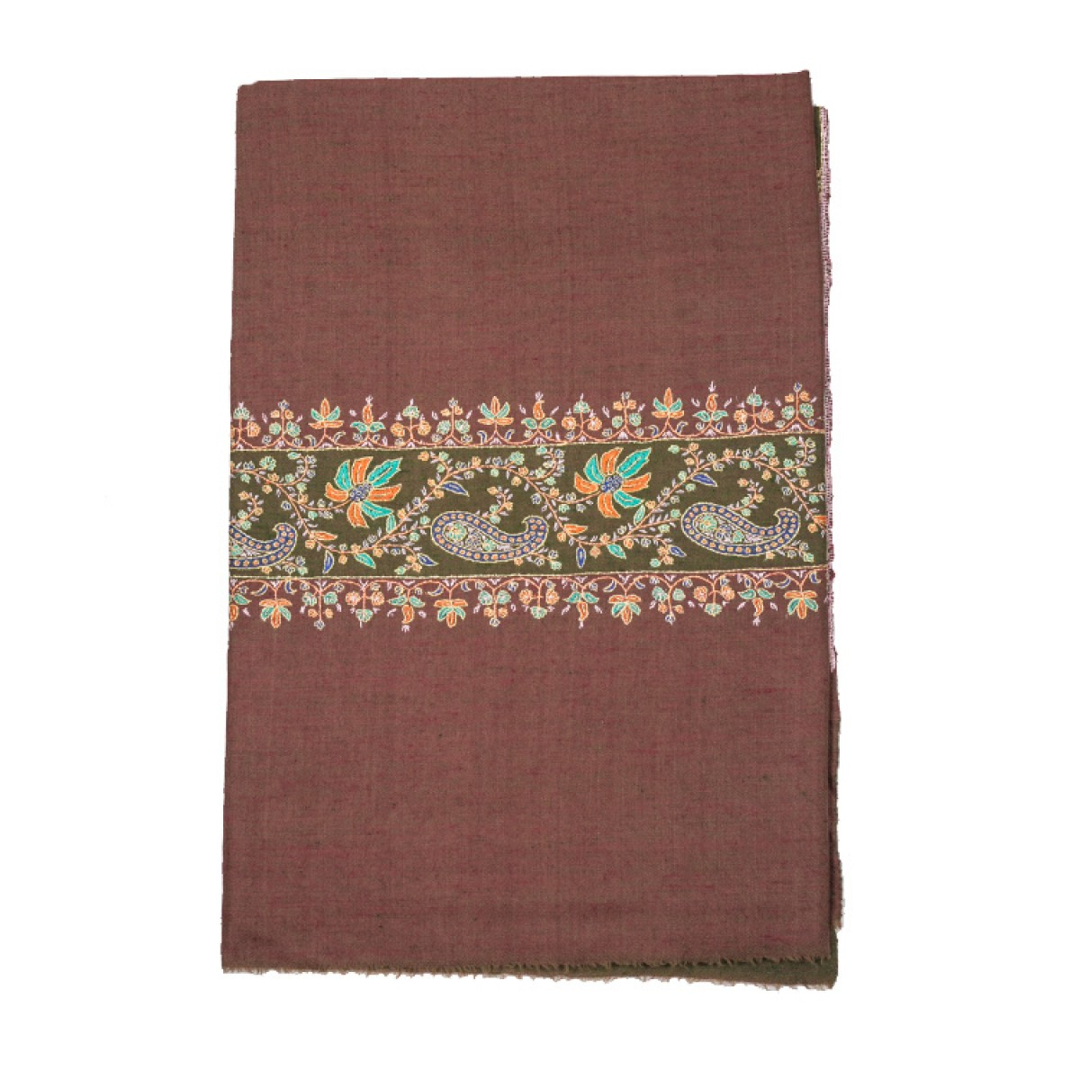 Embroidered Pashmina Shawl - Rust