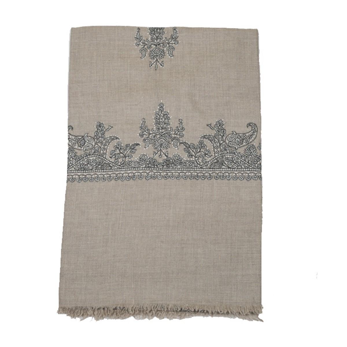 Embroidered Pashmina Shawl - Natural
