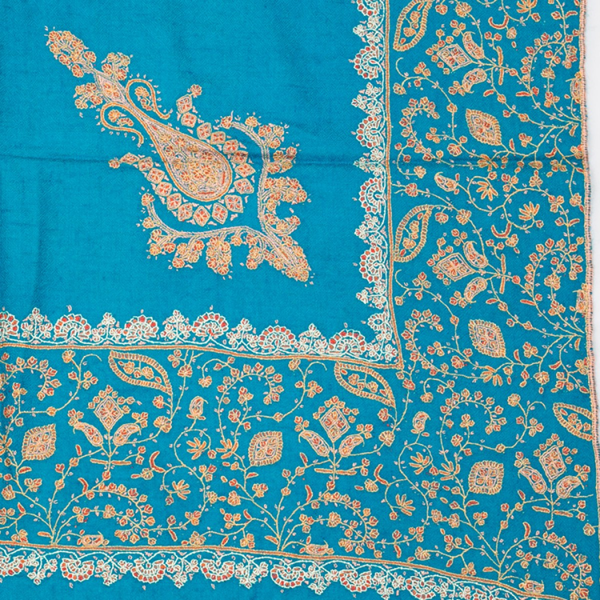 Embroidered Pashmina Shawl - Teal