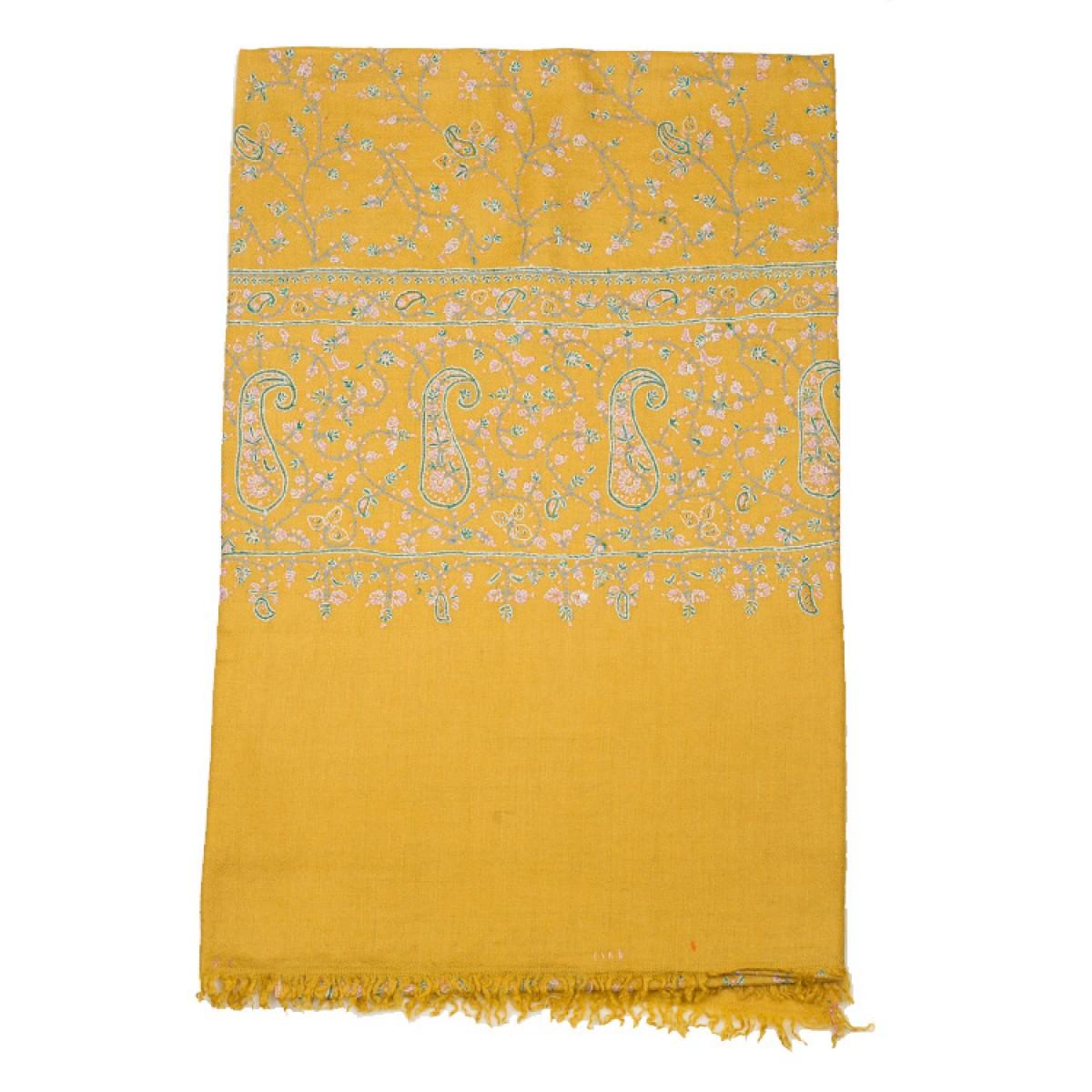 Embroidered Pashmina Shawl - Yellow