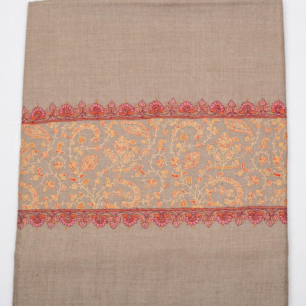 Embroidered Pashmina Shawl - Brown
