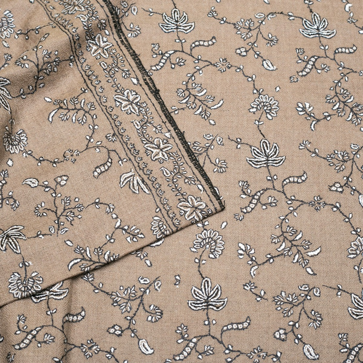 Embroidered Pashmina Shawl - Tortilla Brown