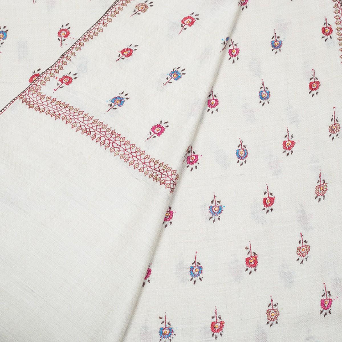 Embroidered Pashmina Stole -  Off White & Multi