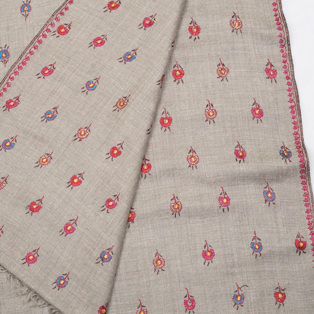 Embroidered Pashmina Stole - Natural & Multi