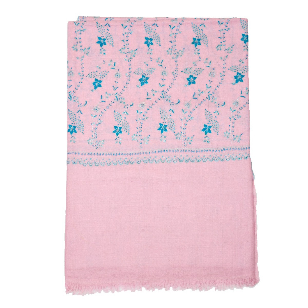 Embroidered Pashmina Shawl - Baby Pink