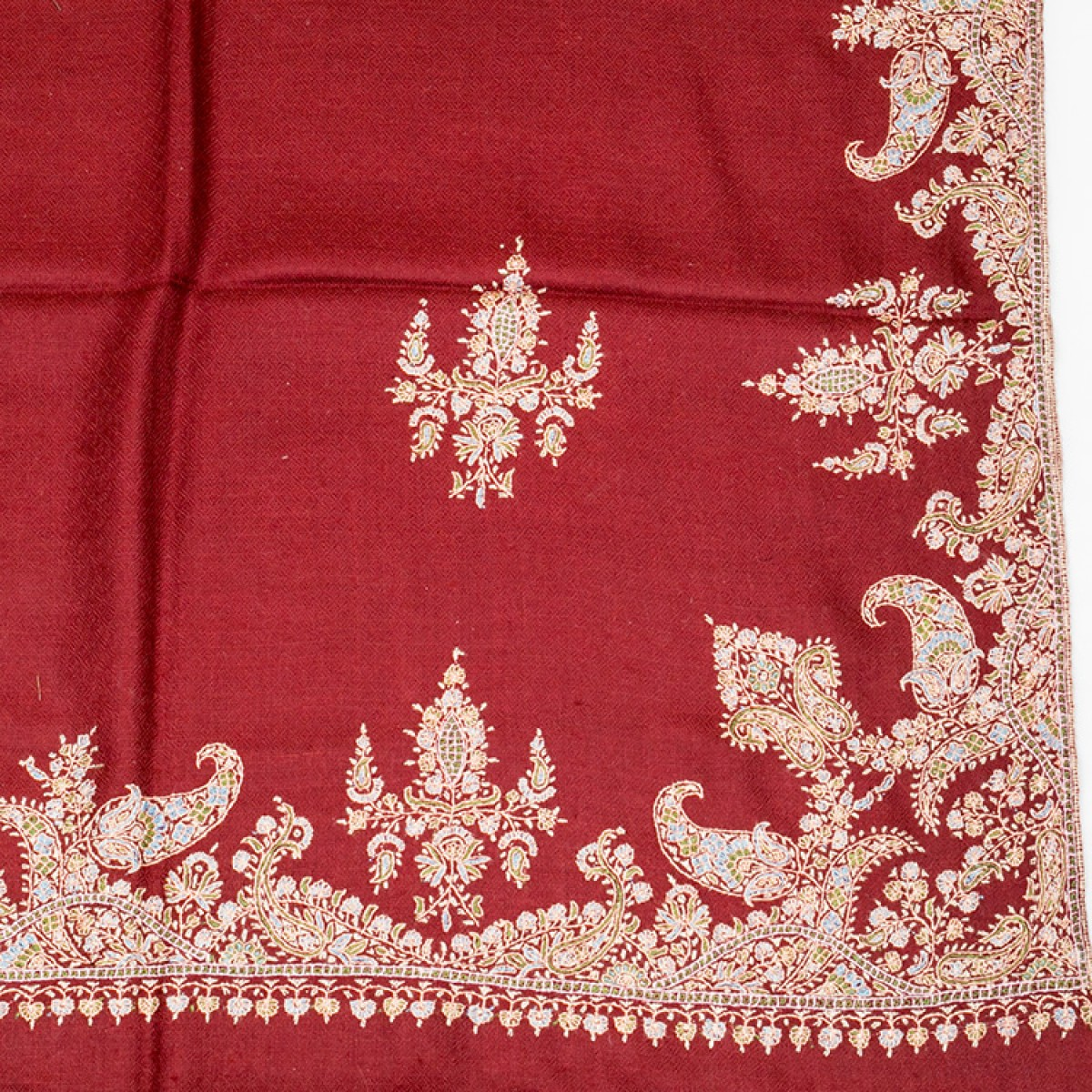 Embroidered Pashmina Shawl - Maroon