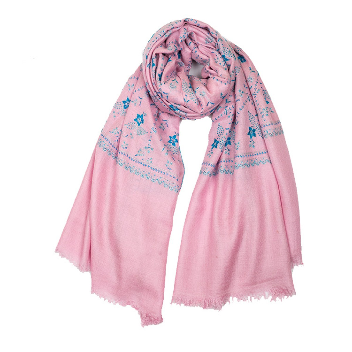 Embroidered Pashmina Shawl - Baby Pink