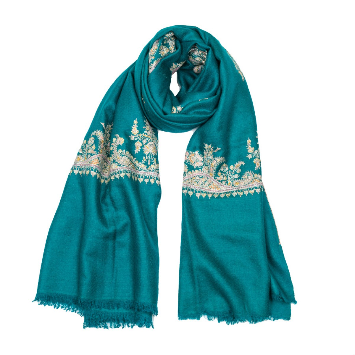 Embroidered Pashmina Shawl - Ocean