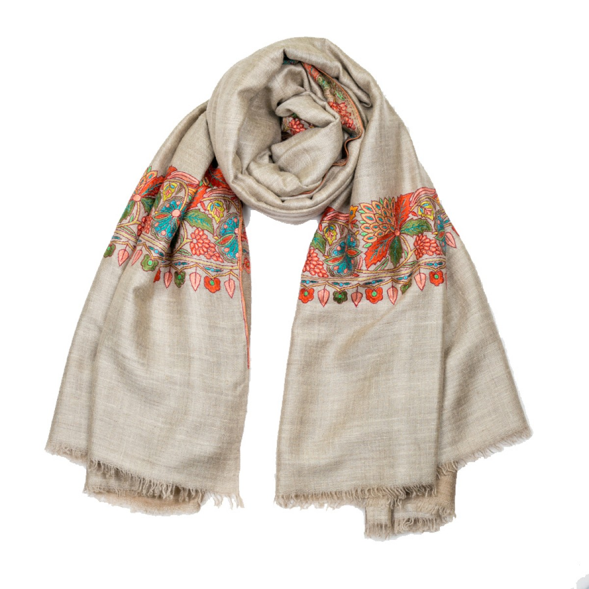 Embroidered Pashmina Shawl - Natural Color