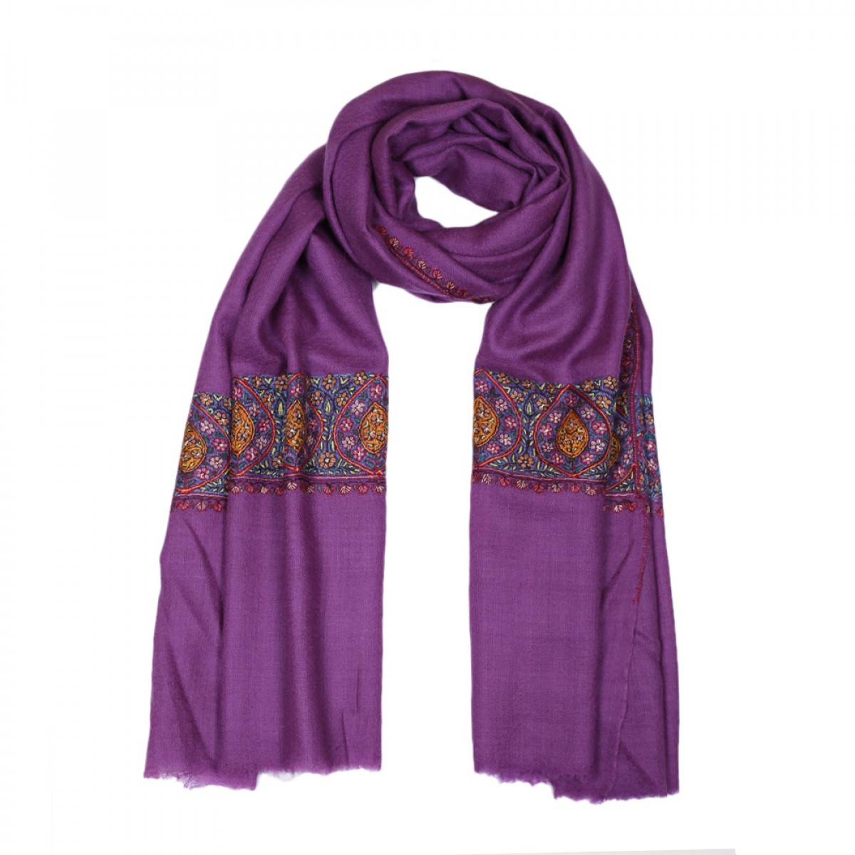 Embroidered Handloom Pashmina Stole - Purple