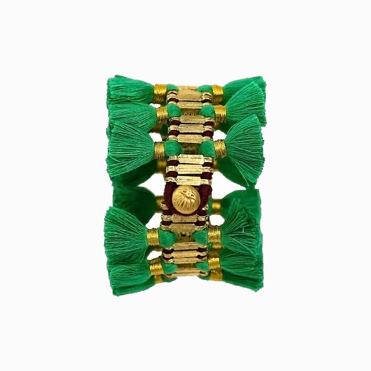 Bohemian Fashion Double Tassel Bracelet - Dark Green