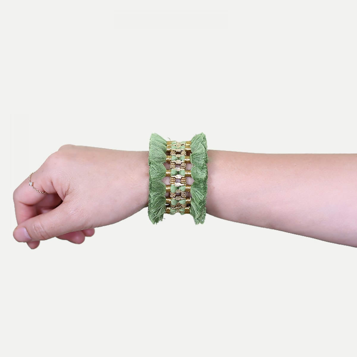 Bohemian Fashion Double Tassel Bracelet - Light Green