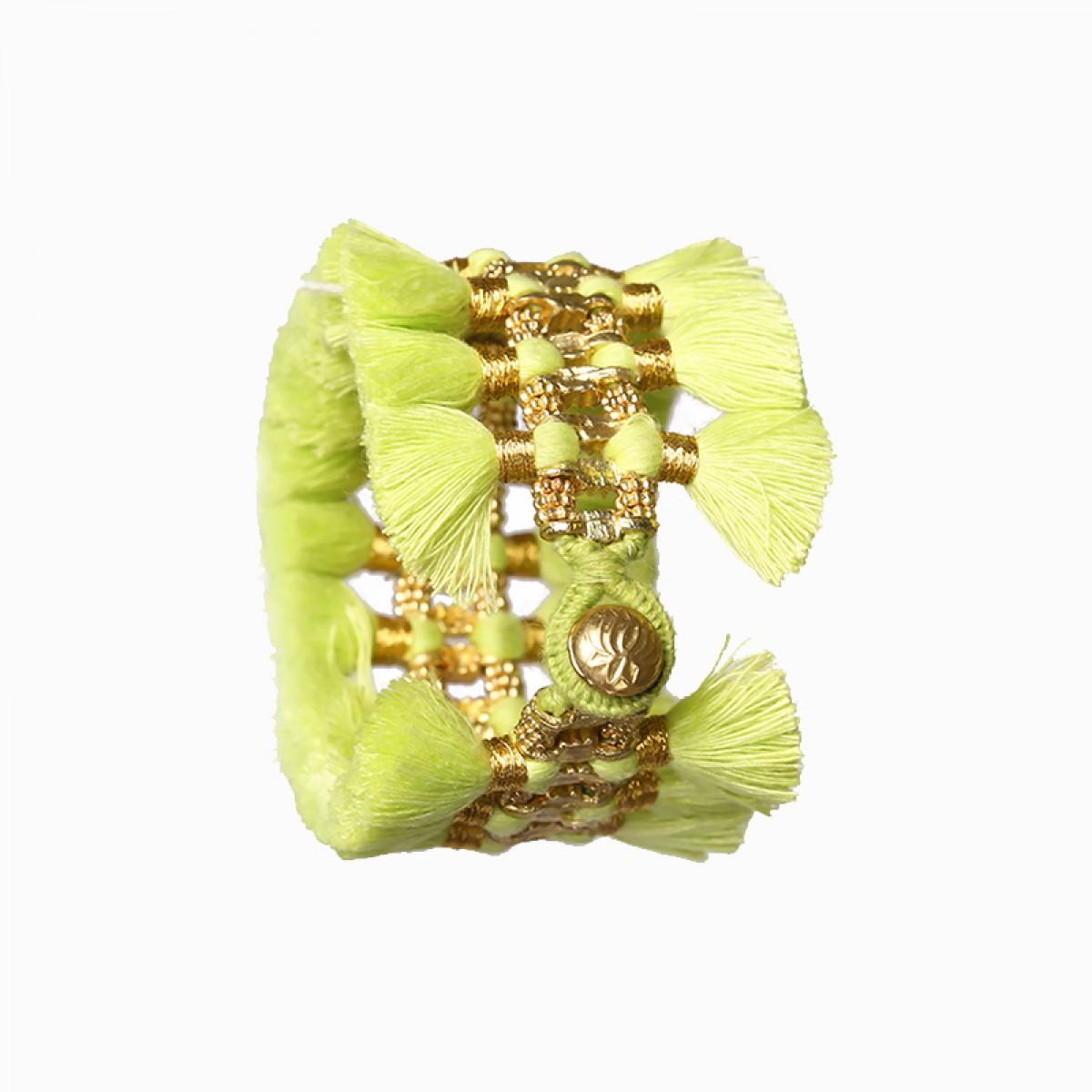 Bohemian Fashion Double Tassel Bracelet - Lime Green