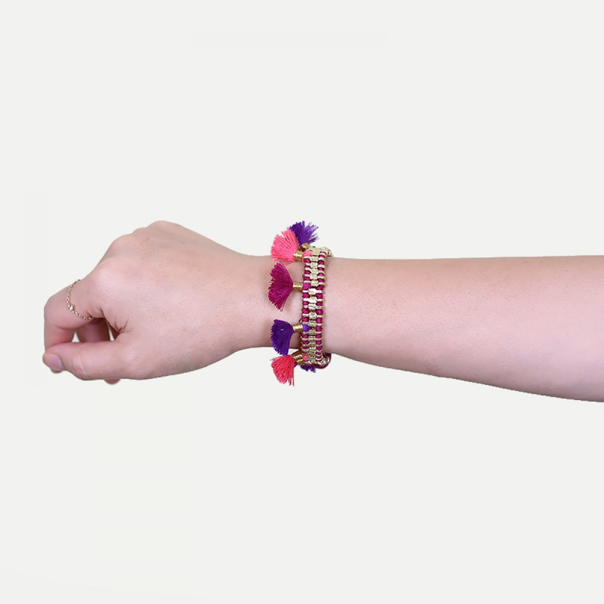 Bohemian Fashion Single Tassel Bracelet - Magenta