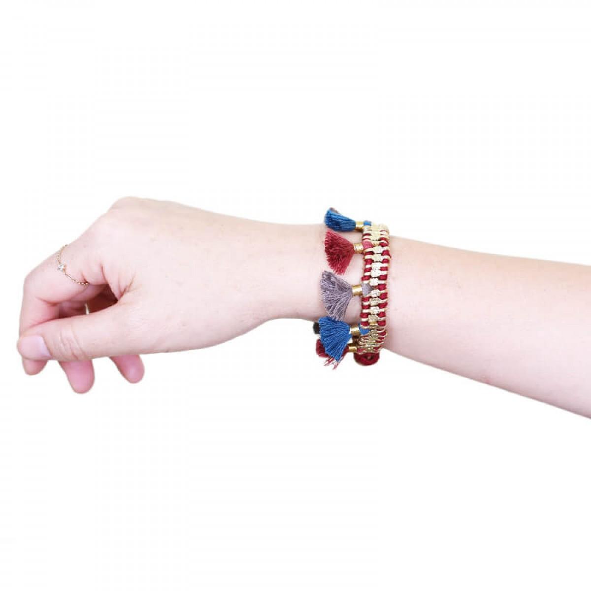 Bohemian Fashion Single Tassel Bracelet - Maroon & Grey
