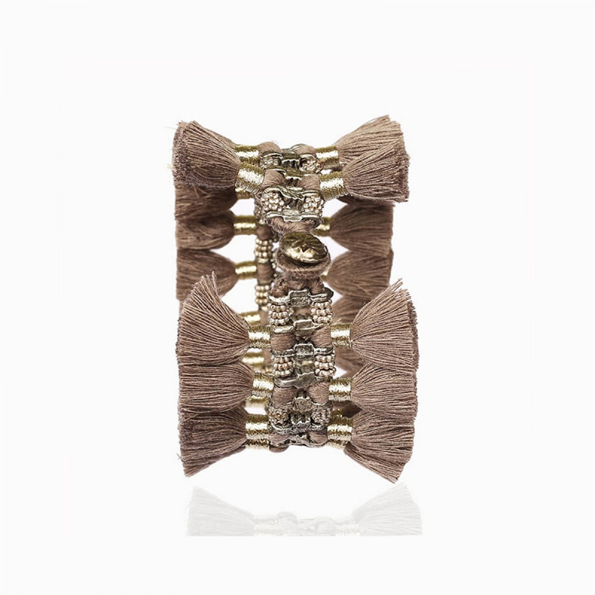 Bohemian Fashion Double Tassel Bracelet - Silver Grey